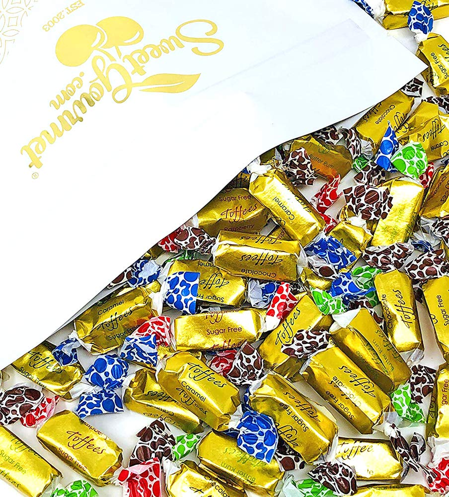 SweetGourmet Sugar Free Toffee Rolls | Chocolate, Caramel, Raspberry, Butter Rum | Kosher Gold Foil Wrapped | 3 Pounds by SweetGourmet