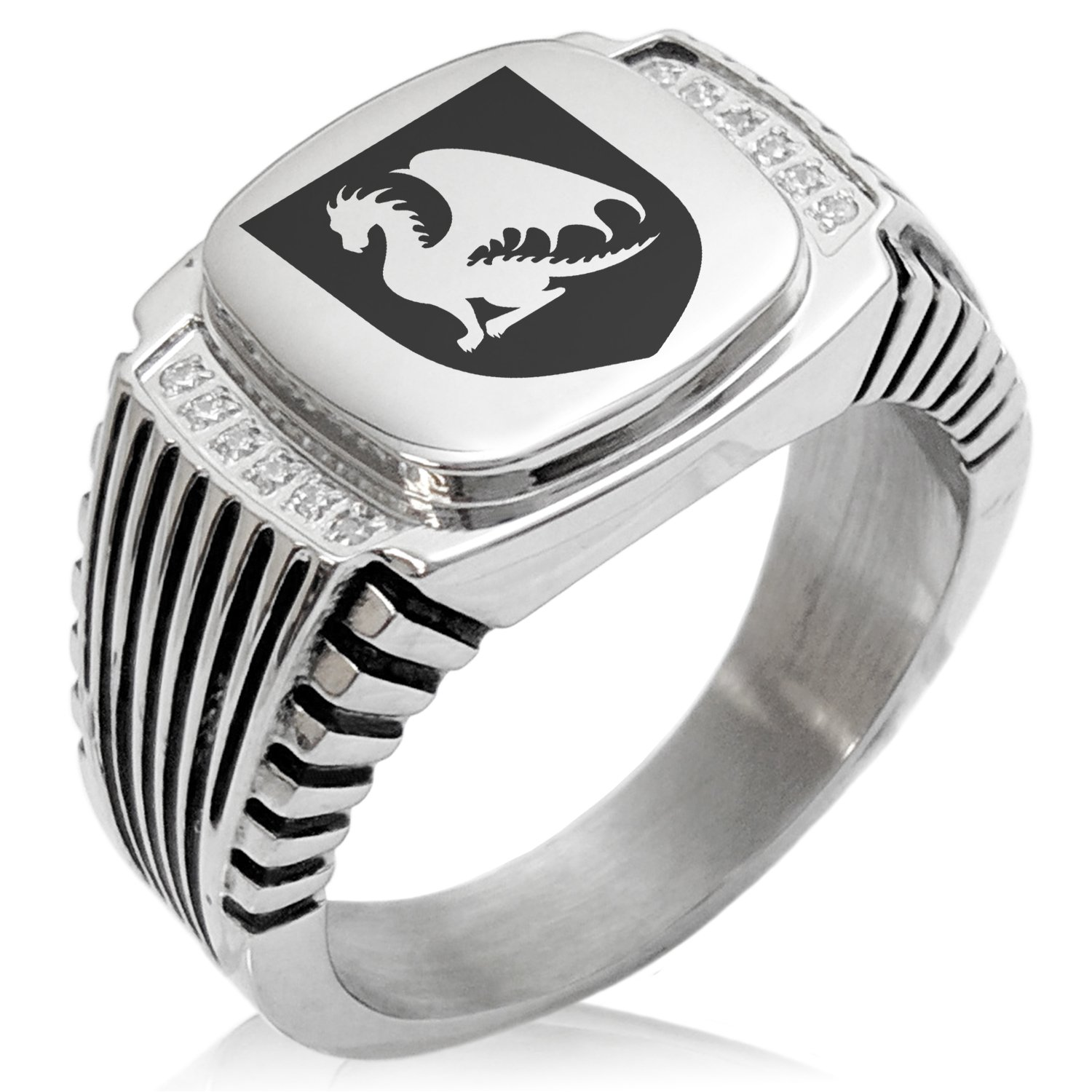 Two-Tone Stainless Steel Dragon Guardian Coat of Arms Shield Engraved Clear Cubic Zirconia Ribbed Needle Stripe Pattern Biker Style Polished Ring, Size 10