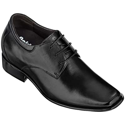Calden Men's Invisible Height Increasing Elevator Shoes - Black Leather Lace-up Lightweight Formal Oxfords - 3.2 Inches Taller - K5655-3.2 Inches Taller   Oxfords