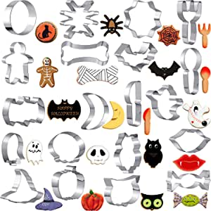 20 Pieces Halloween Cookie Cutters DIY Molds Biscuit Cutters Set Metal Stainless Steel Cutters Chocolate Candy Cookie Molds Pumpkin Witch Hat Skull Owl Kitchen Tools for Halloween Party