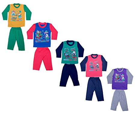 525d9210d2 IndiWeaves Kids Pure Cotton Baba Suit (T-Shirt and Bottom) (Pack of ...