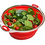 "Best Collapsible Colander by Basics2you – premium silicone kitchen food strainer steamer (width 9.5""/ 24cm) foldable, compact with stainless steel base and dishwasher safe. (Red)"