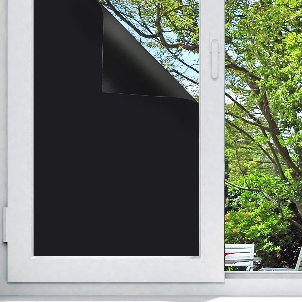 "Blackout Window Film, Non Toxic Smell Privacy Window Film Adhesive Residential DIY,100% Light Blocking , Nap Time, Night Working, Heat Rejection, Baby Room and Day Sleeping (Matte Black, 17.7""x 78.7"") 17.7""x 78.7"") Oubay"