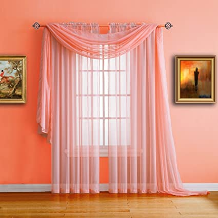 Warm Home Designs Extra Long Pink Orange (Coral) Sheer Window Scarf.  Valance Scarves are 56 X 216 Inches in Size. Great As Window Treatments,  Bed ...