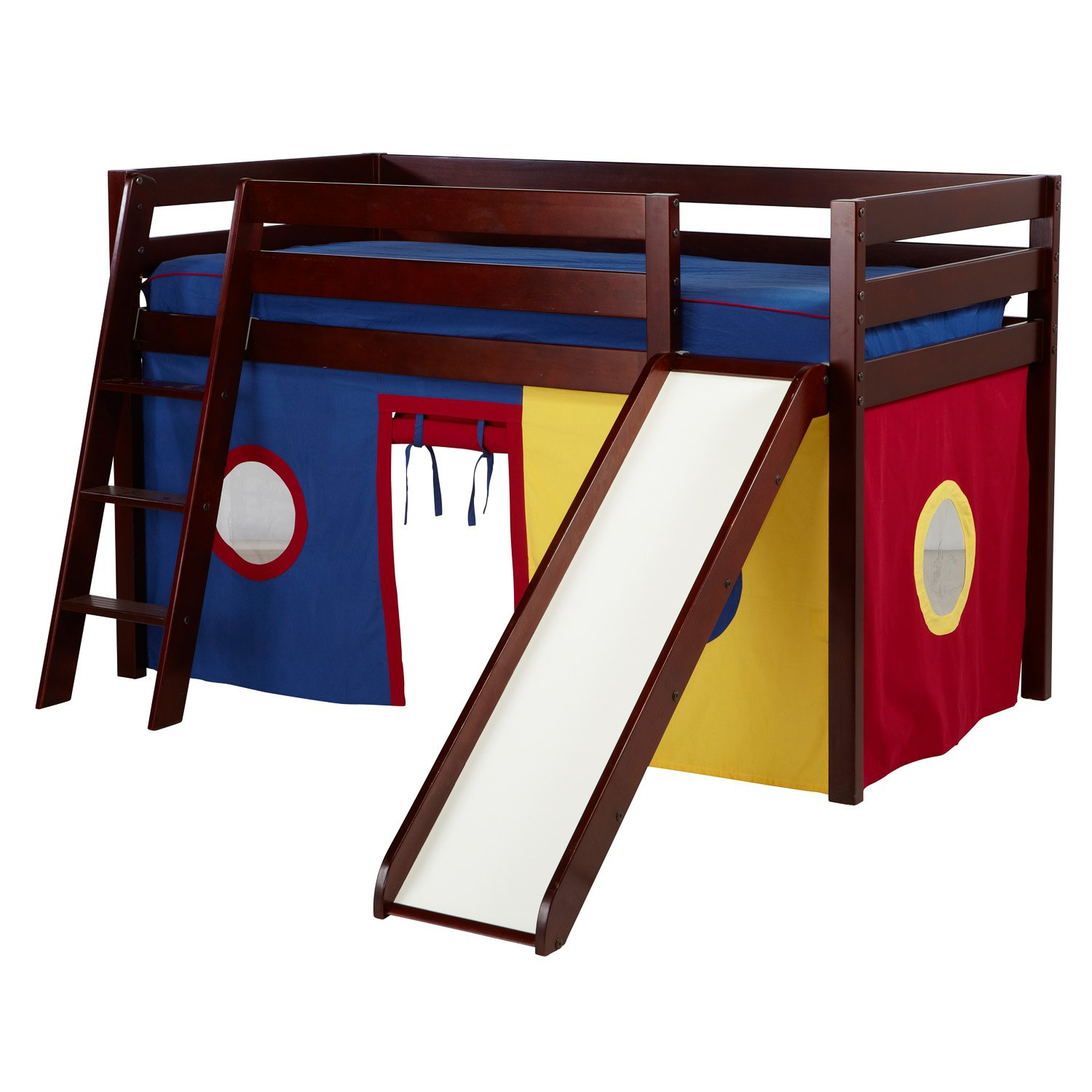 Jackpot! Essentials Low Loft Play Bed with Slide, Angled Ladder,and Blue/Red/Yellow Curtains, Cherry Finish