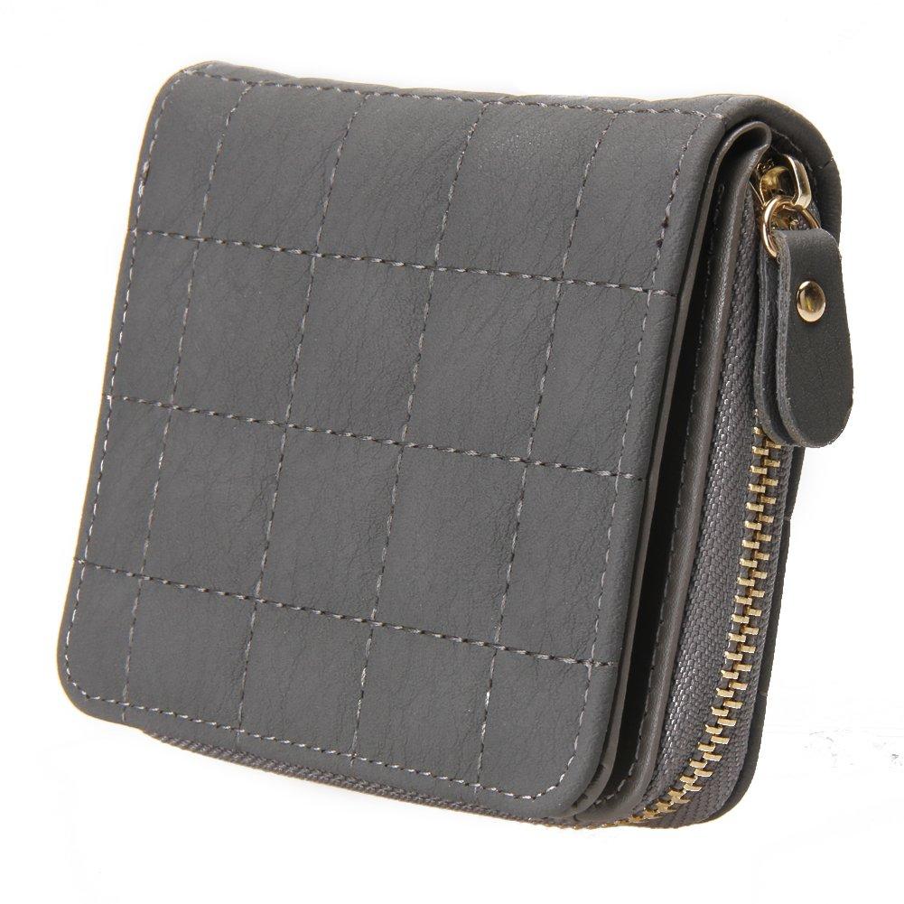 Bestvech Women's Pu Leather Plaid Purses Nubuck Card Holder