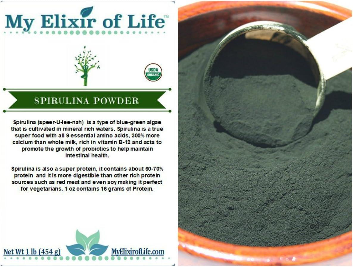 100 Organic Spirulina Powder -Fresh Premium Quality-1 lb