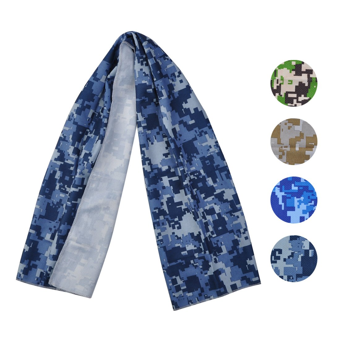 Cooling Towel for Sports, Workout, Fitness, Gym, Yoga, Pilates, Travel, Camping & More, Ice Cold, Camouflage, Multi Colors (CAM-Seablue)