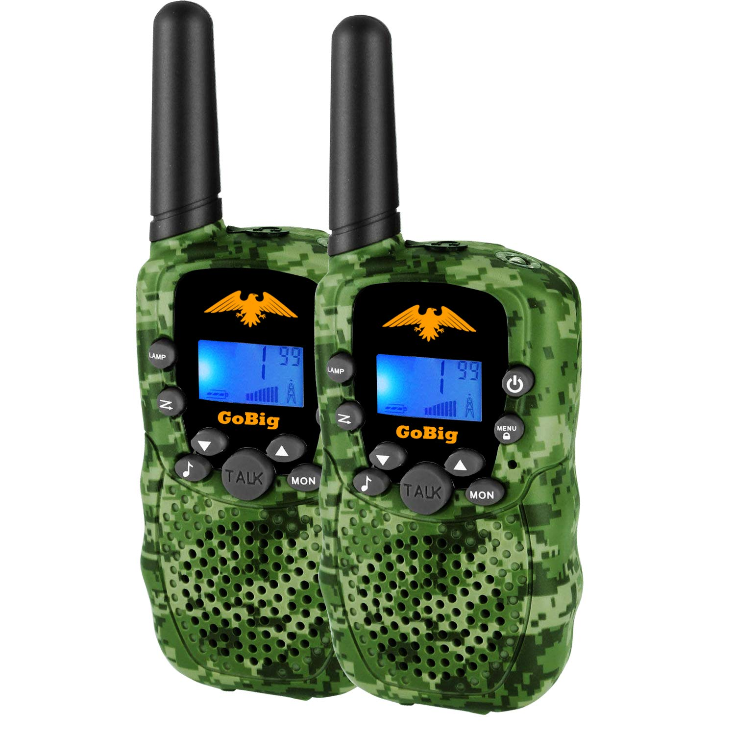 GoBig Walkie Talkies for Kids Voice Activated Walkie Talkies for Adults and Kids 3 Mile Range 2 Way Radio Walkie Talkies Built in Flash Light Camo Green (2 Pack) by GoBig (Image #3)