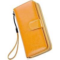 Monederos Mujer Cartera Cuero de Mujer Grande Capacidad Wallet con RFID Bloqueo, Larga Billetera Bolsos con Bolsillo de…