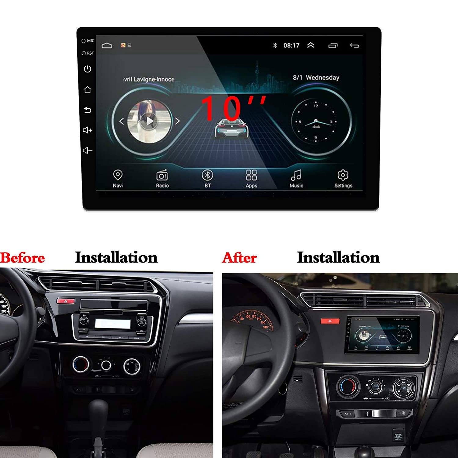 Lexxson 10.1inch Android 6.0 Car Radio 1024x600 GPS Navigation Bluetooth USB Player 1G DDR3 16G NAND Memory Flash CKDA10