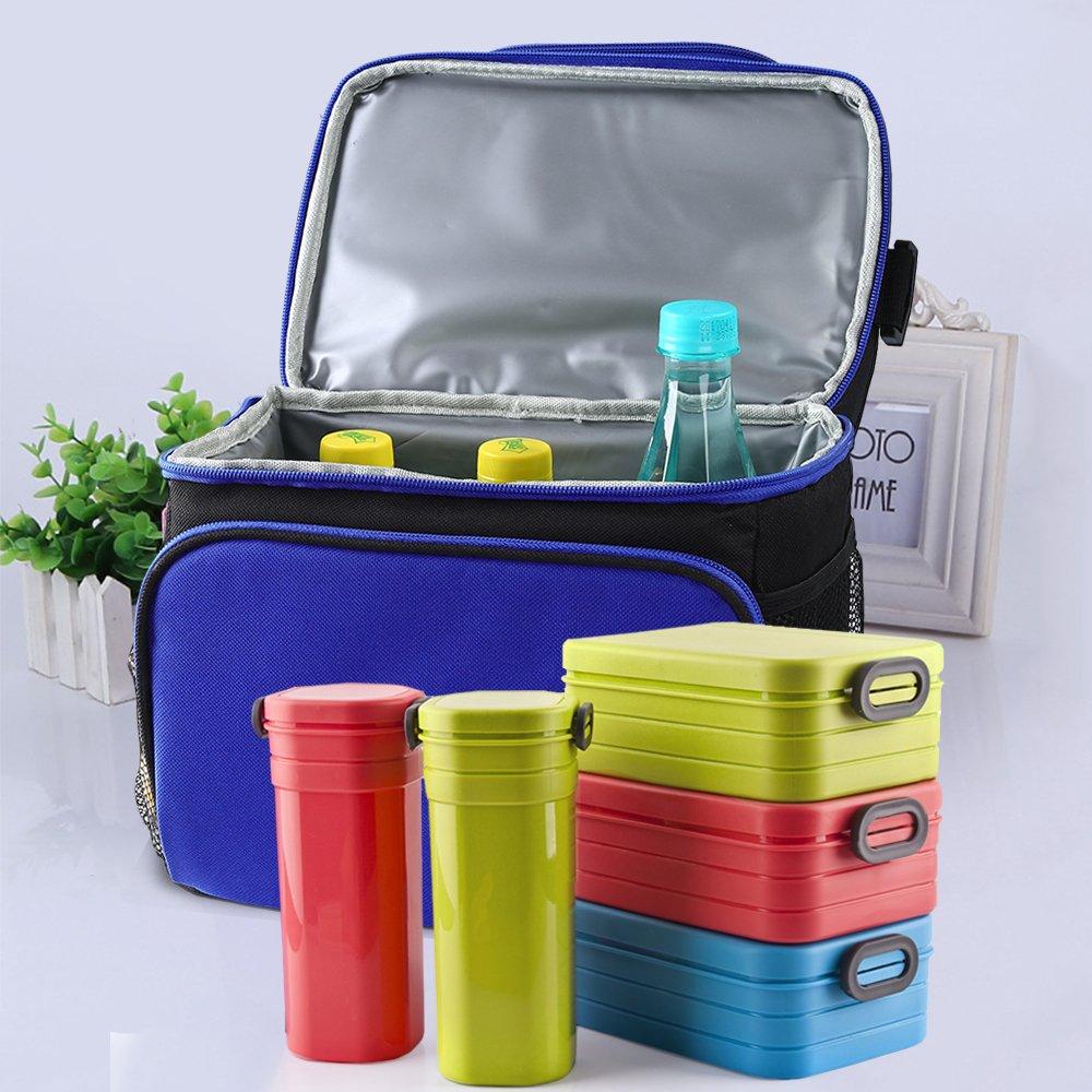 Bolsillo frontal y bolsillo lateral,bolsa refrigerada al trabajo//Picnic al aire libre//a la Escuela HUKOER Bolsa de almuerzo y merienda kit reutilizable aislado con correa ajustable
