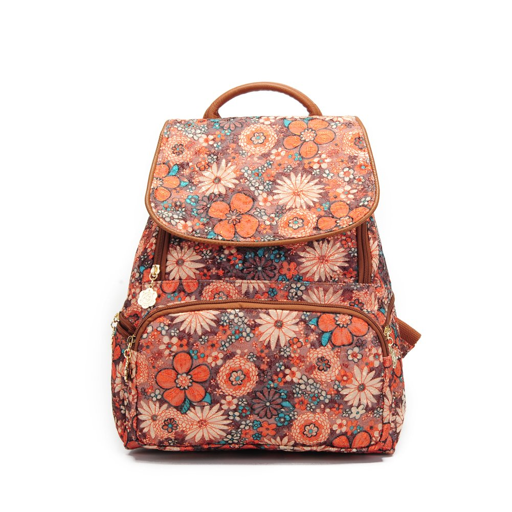Backpack For Girls Fashion Floral Backpack Canvas Backpack Orange by Ms.Camellia