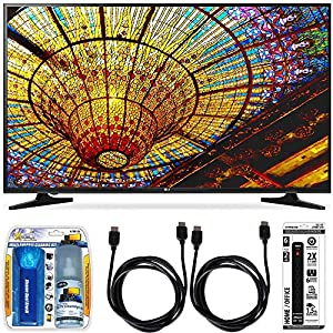 LG 50UH5500 - 50-Inch 4K Ultra HD Smart LED TV w/ webOS 3.0 Accessory Bundle includes TV, Screen Cleaning Kit, 6 Outlet Power Strip with Dual USB Ports and 2 HDMI Cables