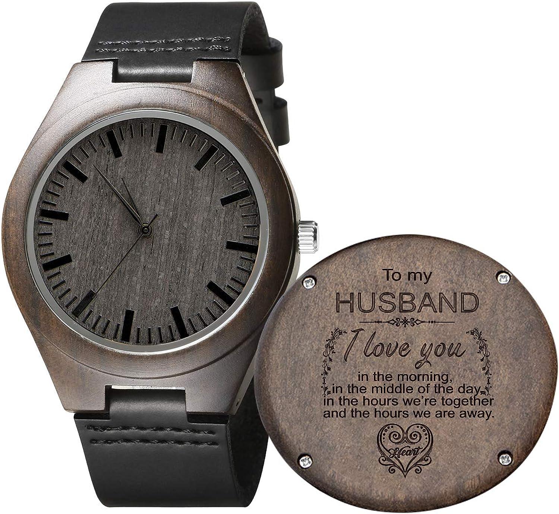 Reloj de madera con grabado para hombre, reloj de madera natural para el novio, el marido, el hijo. De ébano natural, reloj de madera personalizado para regalo de aniversario de cumpleaños.