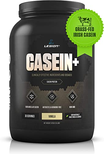 Legion Casein Vanilla Pure Micellar Casein Protein Powder – Non-GMO Grass Fed Cow Milk, Natural Flavors Stevia, Low Carb, Keto Friendly – Best Pre Sleep PM Slow Release Muscle Recovery Drink 2lb