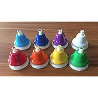 Campanas musicales pulsador sobremesa, multicolor (Pack de 8) alta calidad,sonido claro Do a Do en caja resistente
