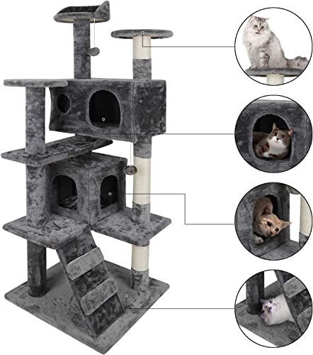 52 Multi-Level Cat Tree Condo Furniture Kitten Activity Play House Bed Pet Kitty Climbing Tower with Scratching Posts Plush Perch Scratcher Ladder Tunnel for Cats,Kittens,Pets