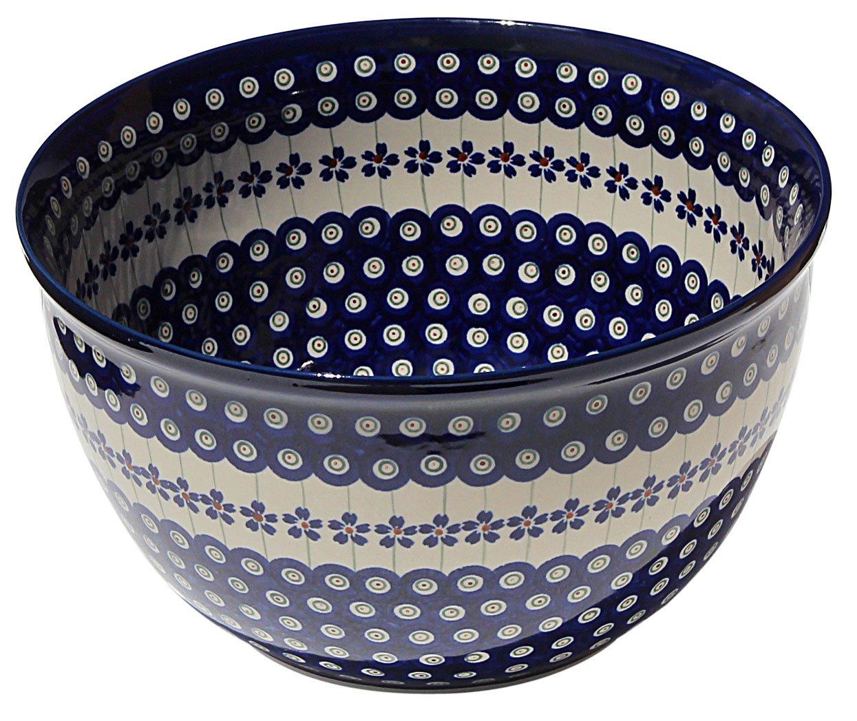 Polish Pottery Mixing Bowl 5 Qt. Decoration Inside From Zaklady Ceramiczne Boleslawiec #986/1-166a Floral Peacock Pattern