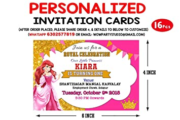 Personalized Wow Party Studio Royal Princess Pink Birthday Party Invitation Cards With Birthday Boy Girl Name 16 Pcs
