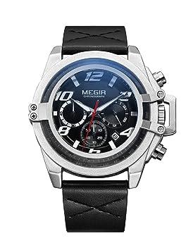 Megir Relojes Deportivos Militares Relojes De Pulsera De Cuarzo Cronógrafo Multifunción Impermeable Reloj Luminoso Relogio Masculino 2052,Silver: Amazon.es: ...