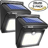 BAXiA 28 LED Lámparas Solares, Luces de Exterior con Sensor de Seguridad por Movimiento Inalámbricas y con Batería Solar Exterior para Jardín, Patio, Terraza, Inicio, Camino, Escalera Exterior [400lm]
