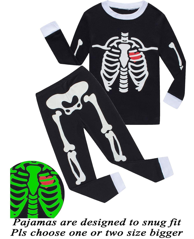 Dolphin& Fish Girls Halloween Pajamas Kids Pjs Skeleton Glow-in-The-Dark Toddler Halloween Clothes FBA-699GD