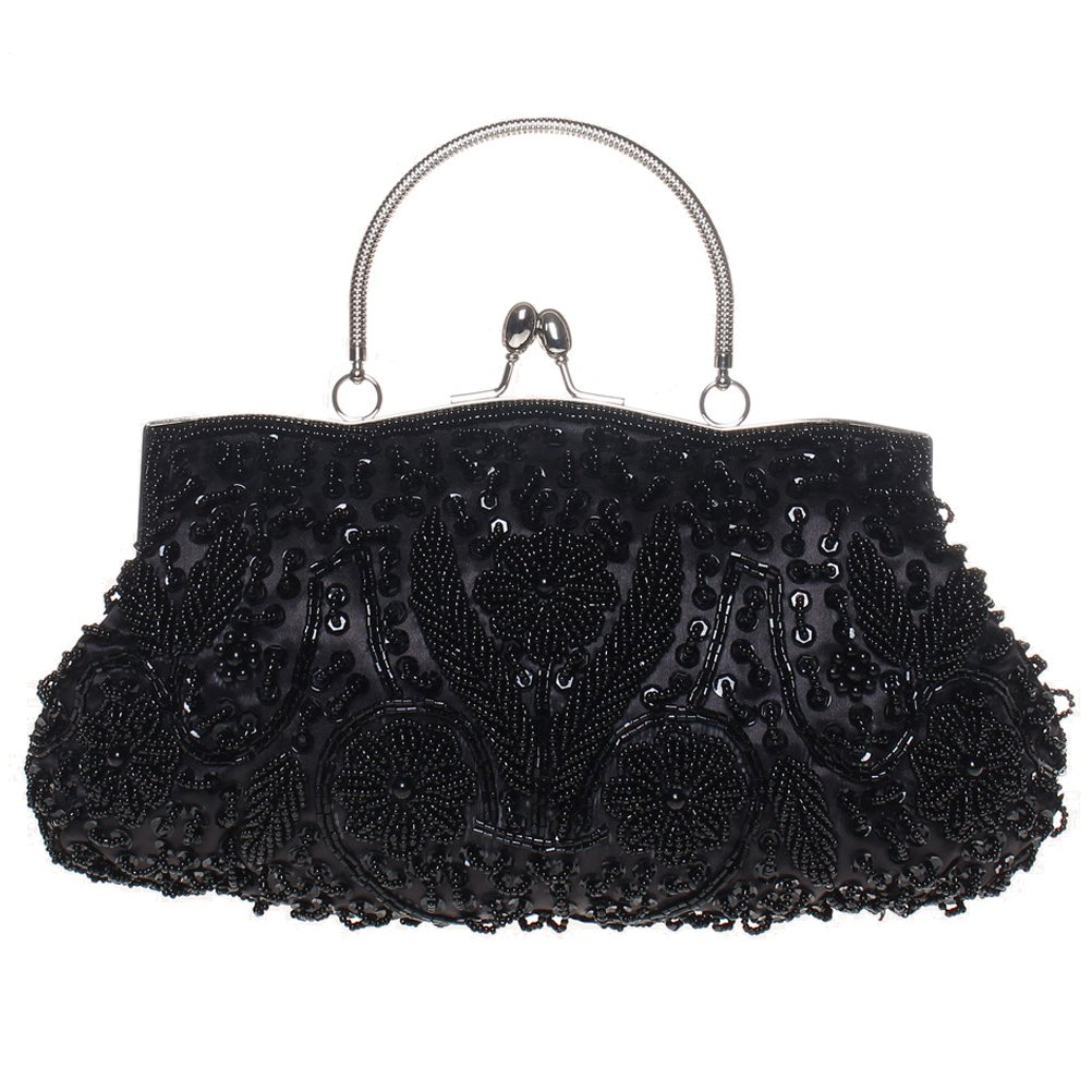 BaoLan Evening Clutch, Womens Vintage Sequined Kissing Lock Clutch Purses For Wedding & Party Black