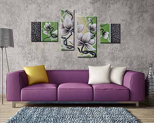 Noah Art-Impressionism Flower Canvas Wall Art, 4 Panel 100% Hand Painted On Canvas Framed Gallery-Wrapped Oil paintings of Flowers, Ready to Hang for Dining Room Home Decor Wall Decorations