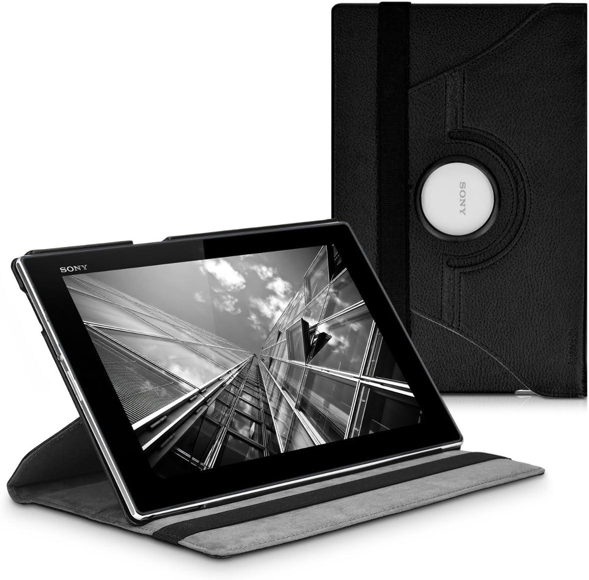 kwmobile Funda compatible con Sony Xperia Tablet Z - Carcasa de cuero sintético para tablet en negro