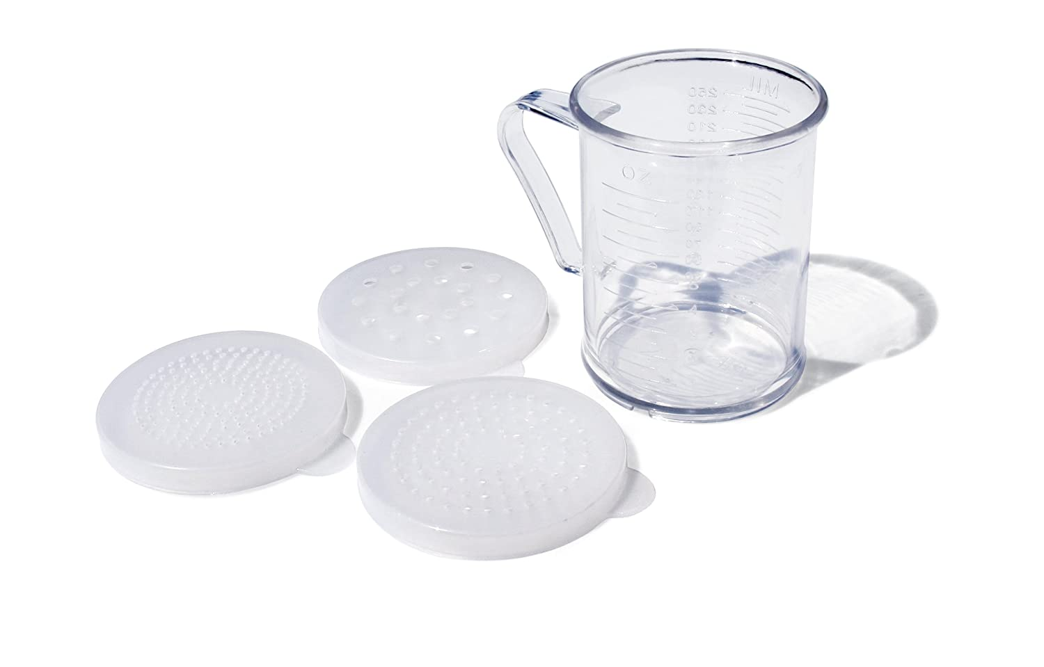 New Star Foodservice 22513 Polycarbonate Dredge Shaker with 3 Lids, 10-Ounce, Clear