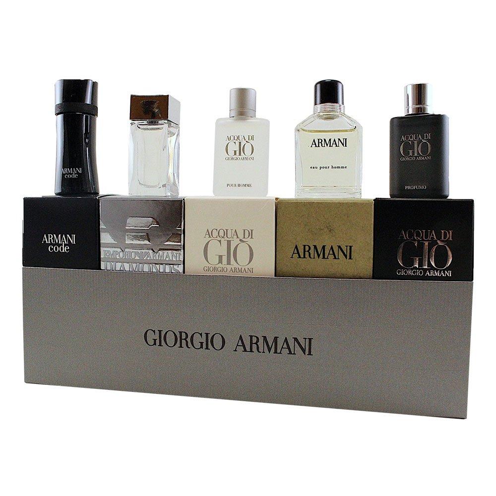 Armani 5 Piece Set For Men (Code 4ml/Diamonds 4ml/Adg 5ml/Green 7ml/Adg Profumo 5ml)