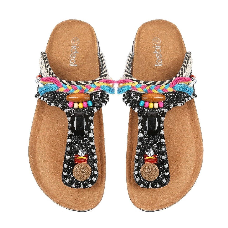 Ideal Shoes nu-pieds Glitter e decorato di strass e gioielli arabesco Tammy,  Nero (nero), Fr 40: Amazon.it: Scarpe e borse