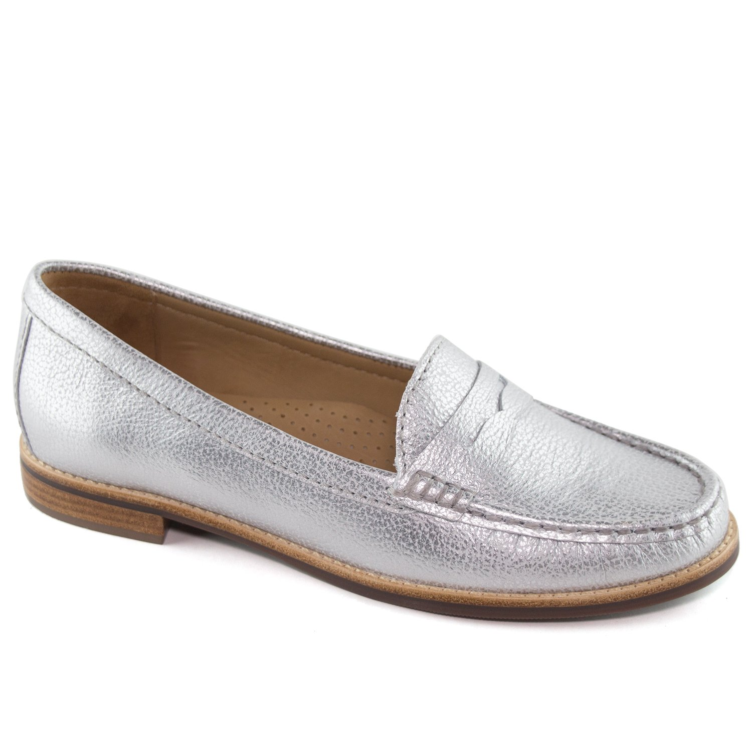 Driver Club USA Women's Genuine Leather Made in Brazil Greenwich Fashion Metallic Silver Penny Loafer 8.5