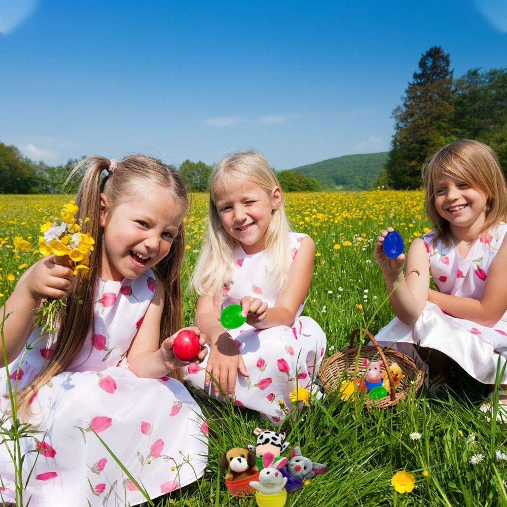 Oiuros 10pcs Toy Filled Easter Eggs Filled with Animal Finger Puppets Soft Velvet Dolls Easter Basket Stuffers