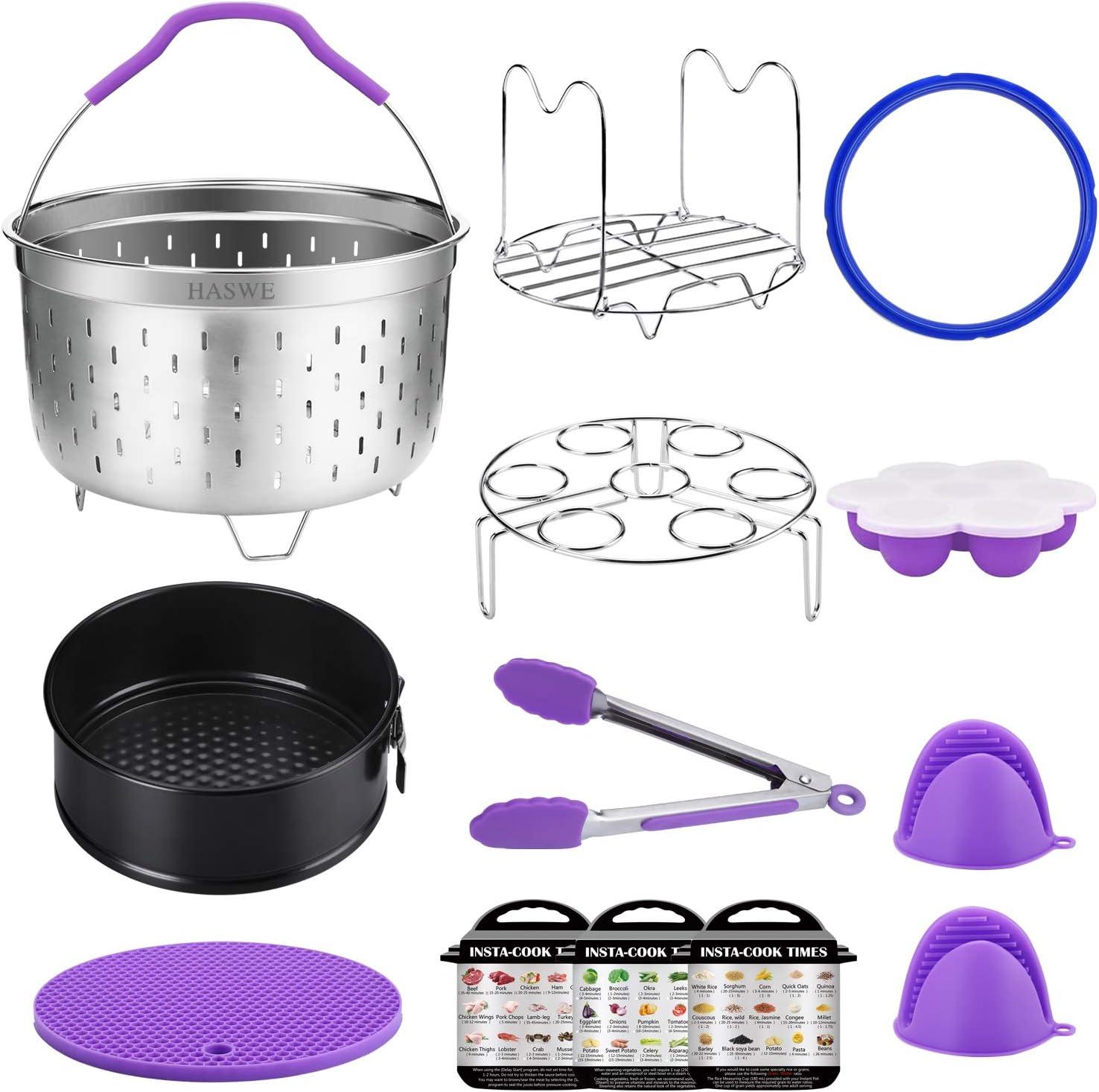 Haswe Accessories Set for Instant Pot 6/5 qt,Fit Instapot Pressure Cookers, Steamer Baskets/Non-Stick Springform Pan/Steamer Rack Trivet/Silicone Egg Bites Mold/Sealing Ring.Dishwasher Safe-6 quart