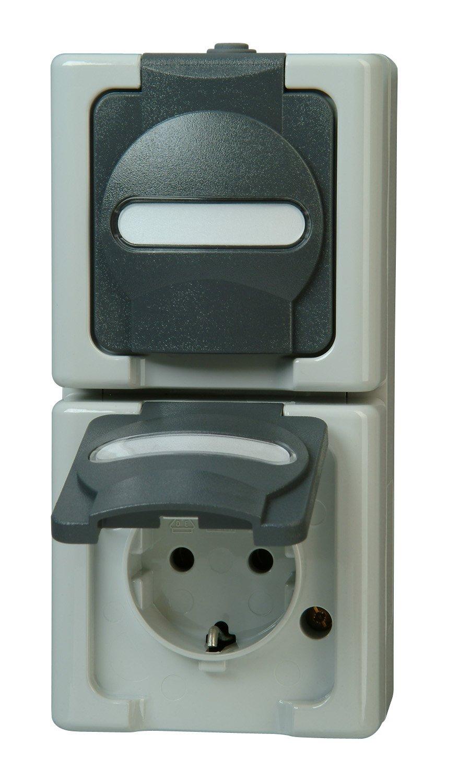 Kopp 131456008 Blue Electric Schutzkontakt-Steckdose, 2-fach mit Deckel B0036U1SXY