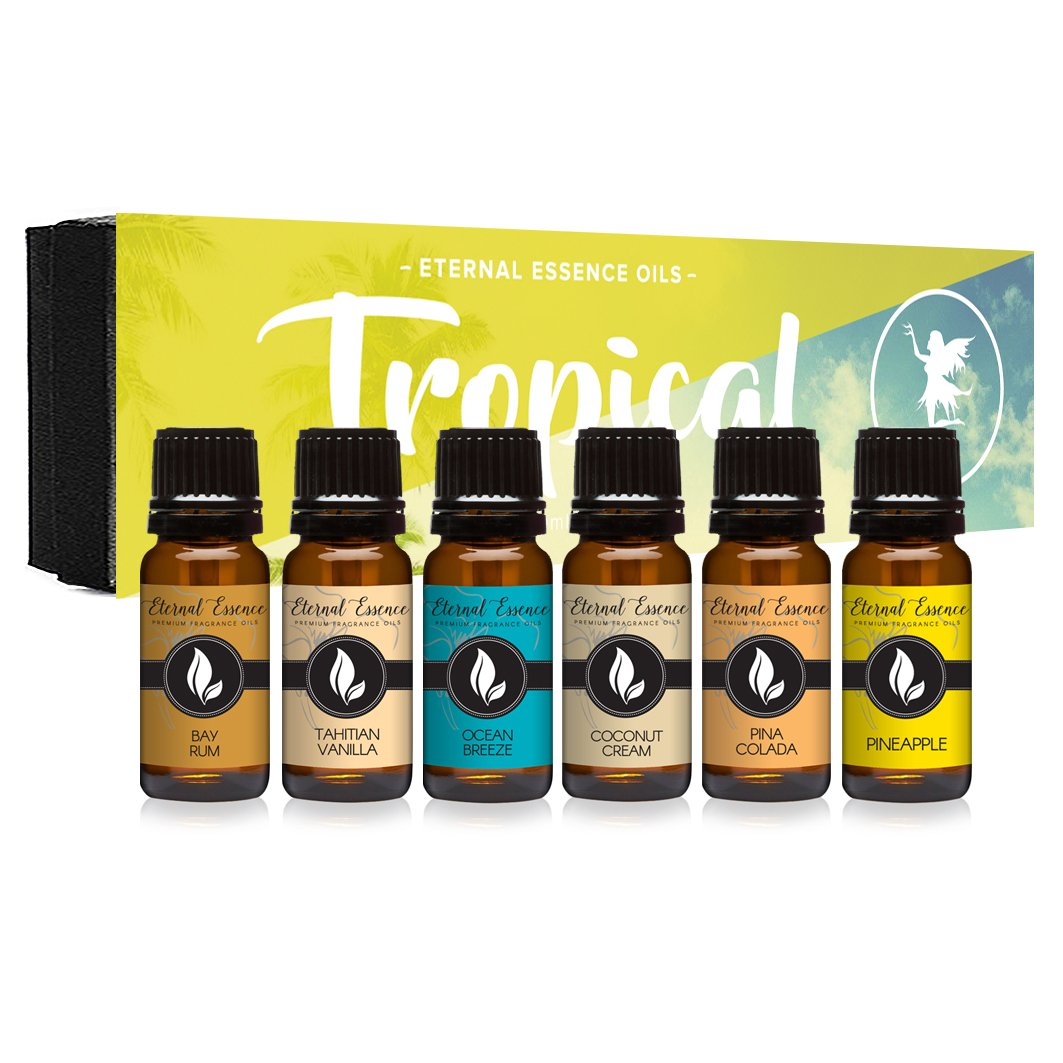 Tropical Gift Set of 6 Premium Grade Fragrance Oils - Coconut Cream, Bay Rum, Pina Colada, Tahitian Vanilla, Ocean Breeze, Pineapple - 10Ml - Scented Oils