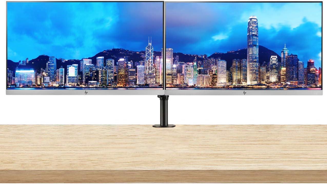 HP EliteDisplay E273 27 Inch LED Backlit Monitor 2-Pack Bundle with Fully Adjustable Desk Mount Monitor Stand