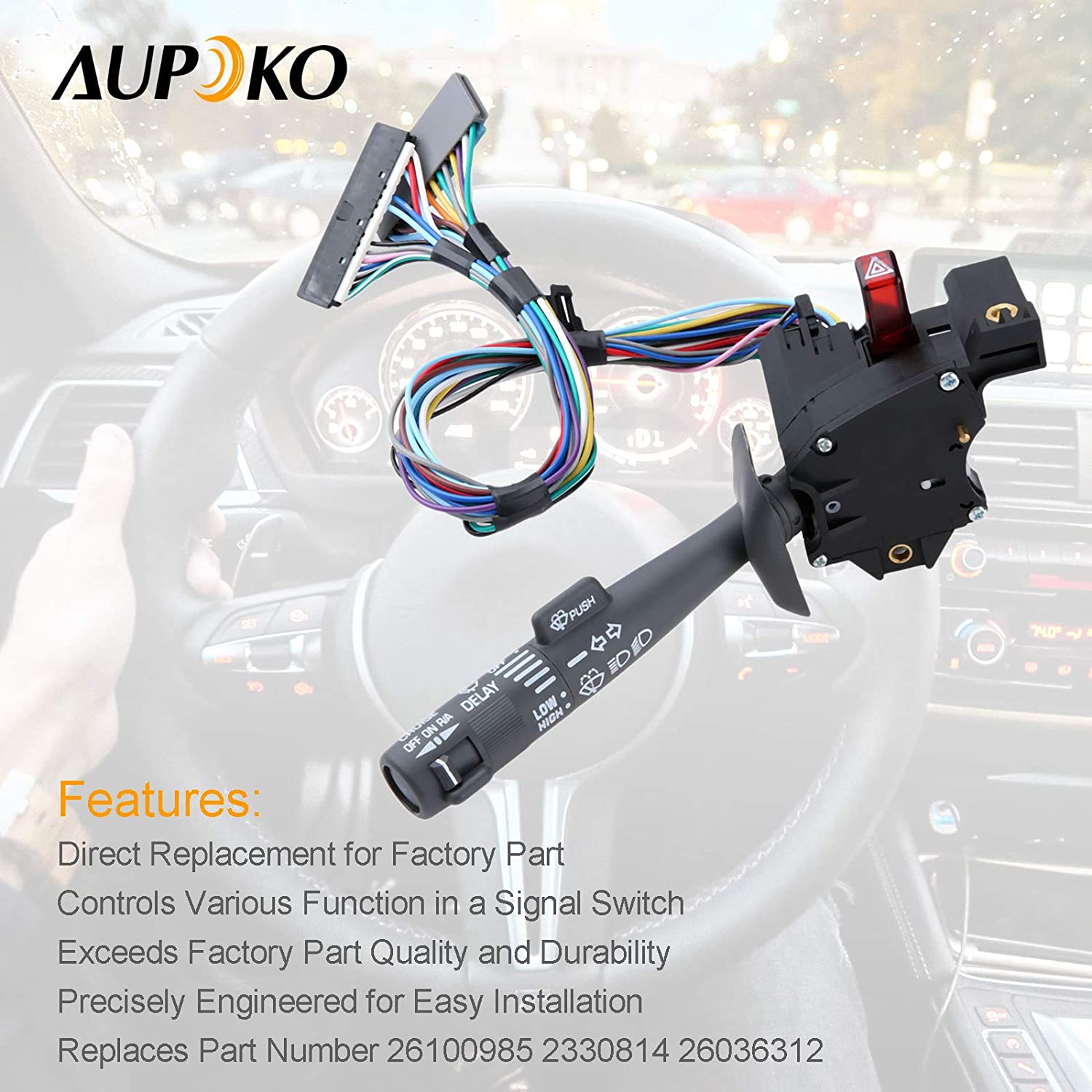Multi-Function Combination Switch Wiper Hazard Switch 26100985 26036312 D826A- Chevy Tahoe Replaces Part # 2330814 Sierra Turn Signal Blazer Cruise Control Suburban Washers K1500