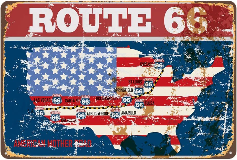 US Highway Route 66 Road Trip Wall Door Sign Plaque 30 x 20 cm