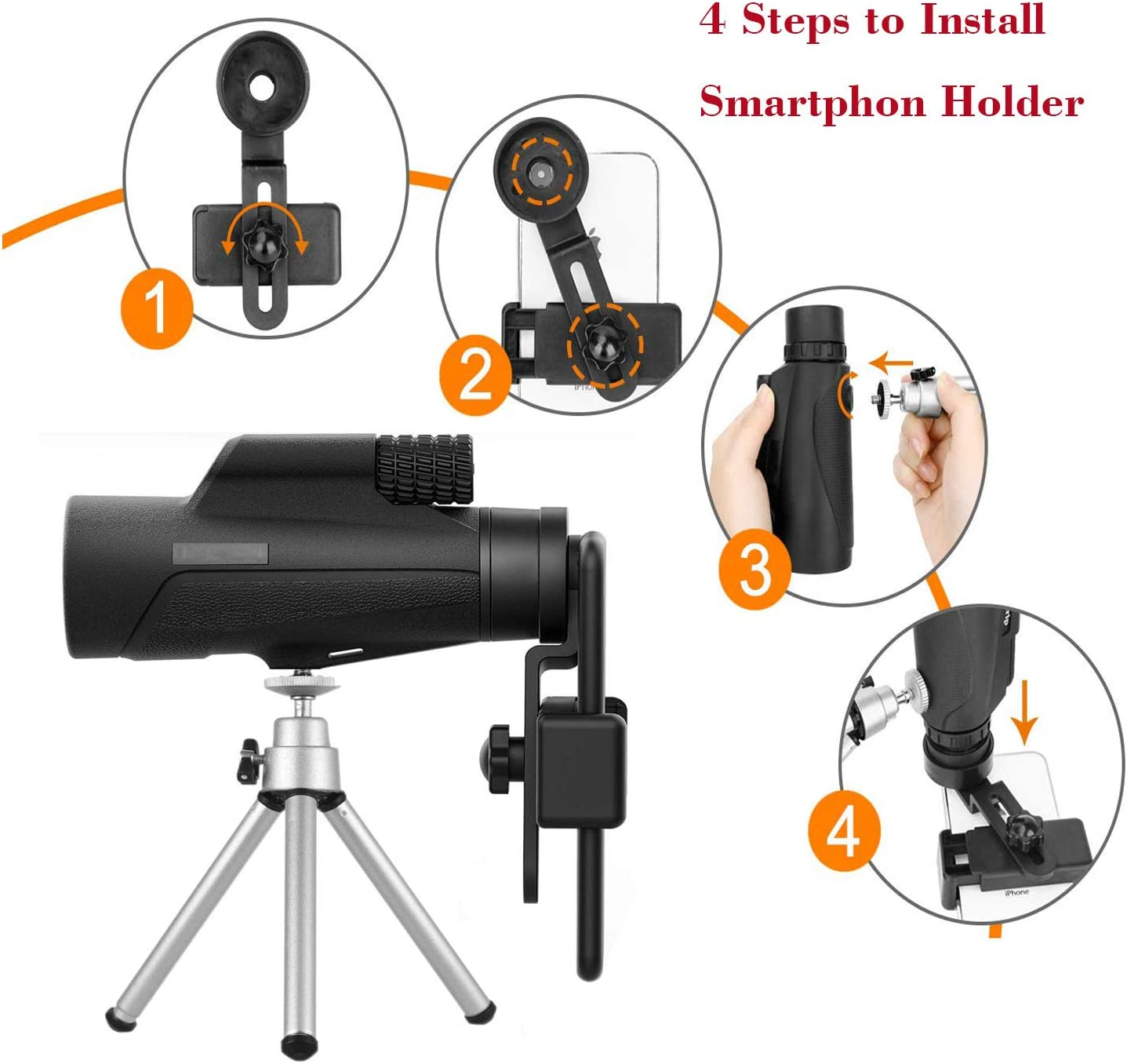 10 * 42 Travel Bird Watching SpinAmz Monocular Telescope,10X42 High Powered Monocular Scope with Phone Adapter and Tripod Camping Hunting Waterproof BAK4 Prism FMC Lens for Outdoor