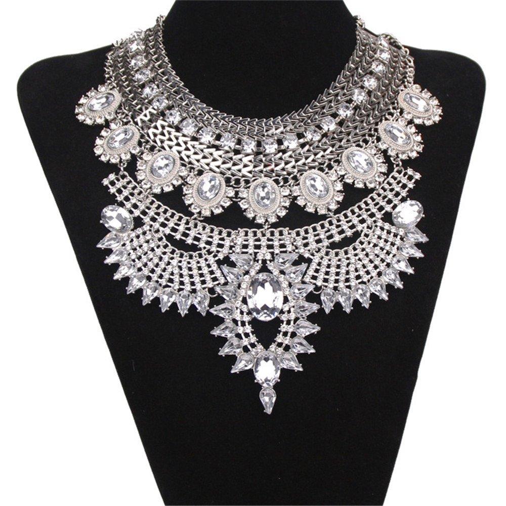Bewish Women Vintage Bohemia Silver Jewelry Pendant Crystal Choker Statement Collar Chain Bib Necklace