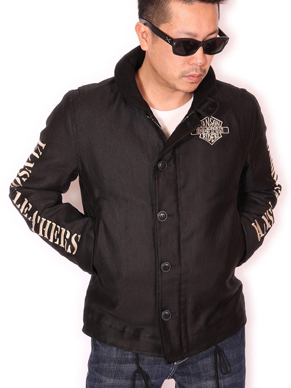 (バンソン) VANSON ロゴ刺繍&ワッペン N-1 デッキジャケット NVJK-706 B077QRM6V2 M|ブラック ブラック M