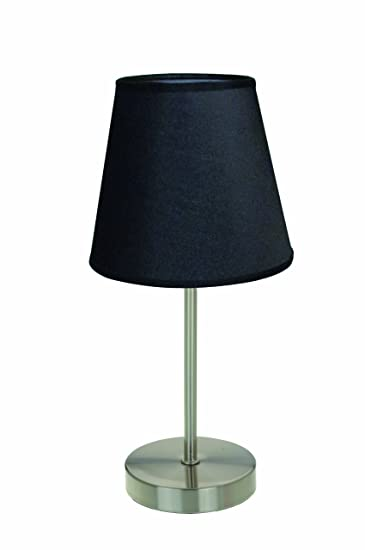 Simple Designs LT2013 BLK Sand Nickel Mini Basic Table Lamp With Fabric  Shade, Black