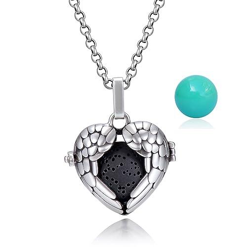 Candyfancy Collar Bola Pelota musical Embarazo Medallón colgante de lágrima Plata vintage 1 piedra lava negra