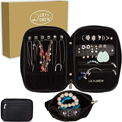 Amazon.com  Lily   Drew Travel Jewelry Storage Carrying Case Jewelry  Organizer with Removable Pouch 6189e845a2833
