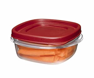 Rubbermaid Easy Find Lid Square 1-1/4-Cup Food Storage Container, 1 Count (Pack of 8)