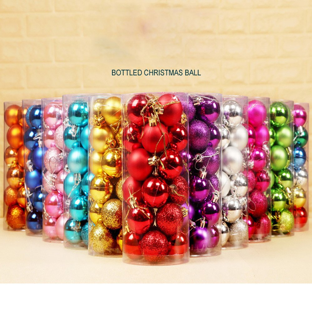 Taggmy Christmas Decorations for Trees Ball 30mm Xmas Bauble Hanging Home Small Party Ornament Decor Red Green Blue by Taggmy (Image #3)