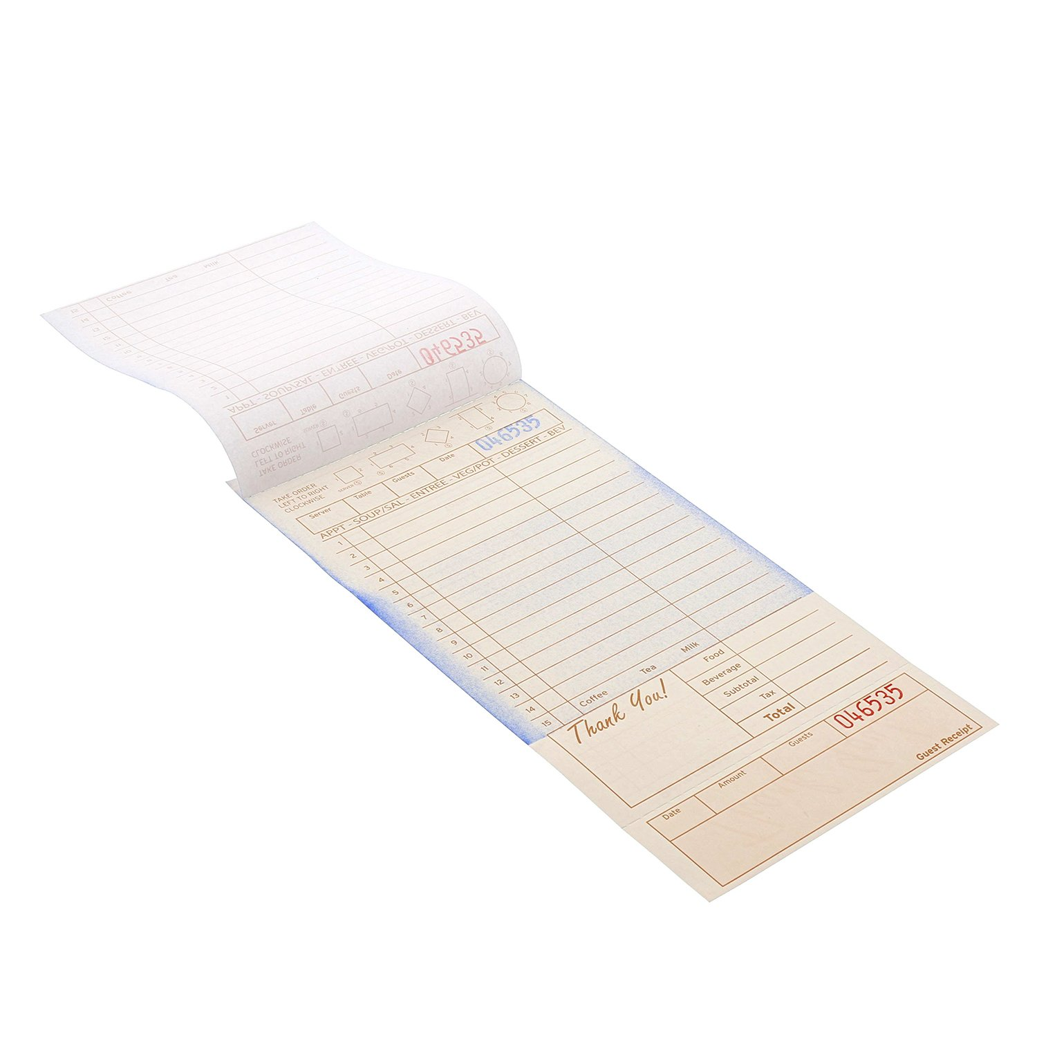 Royal Tan Guest Check Board, Carbonless 2 Part Loose, Case of 2000